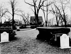 black and white photo of tombs