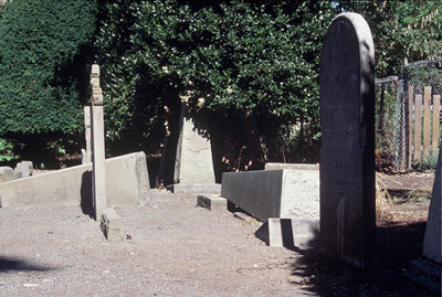colour photo of overturned monuments and headstones